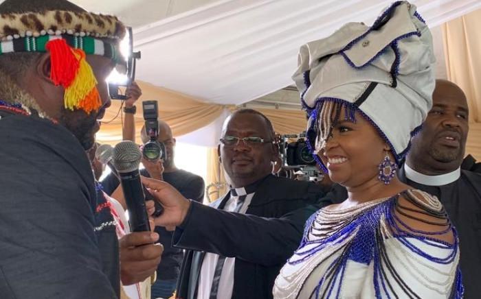 Presidency spoken Khusela Diko and her husband, amaBhaca King Madzikane II Diko at their wedding in 2018. Picture: Twitter