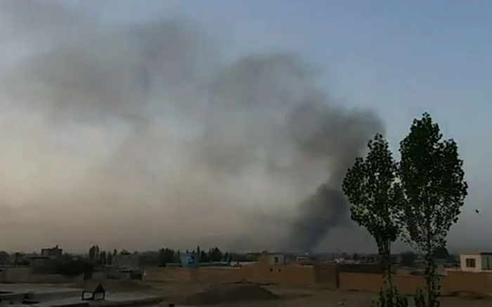 FILE: This screengrab taken from AFPTV video on 10 August 2018 shows smoke rising into the air after Taliban militants launched an attack on the Afghan provincial capital Ghazni. Picture: AFP