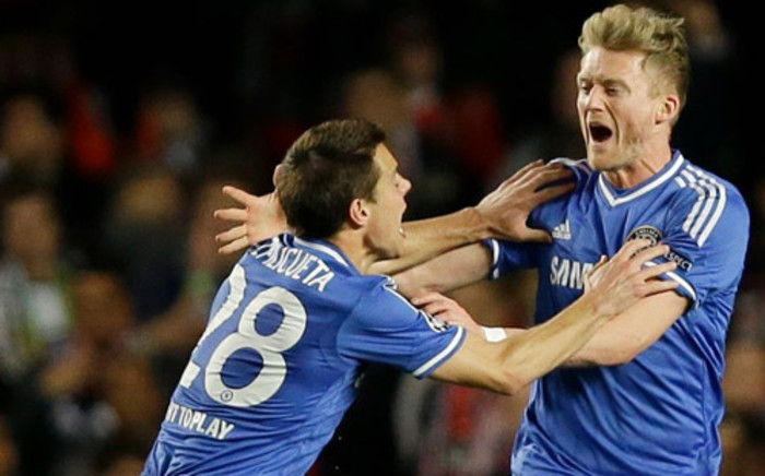 Chelsea's Andre Schuerrle celebrates his goal after his team went one goal up in the first half against Paris St Germain in the second leg of the Champions League quarterfinals on 8 April 2014. Picture: Facebook.