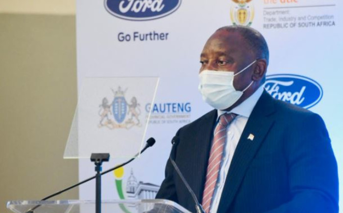 President Cyril Ramaphosa visited the Tshwane Automotive special economic zone on 2 February 2021, where it was announced that Ford will invest R15.8 billion into South Africa. Picture: Twitter/@PresidencyZA