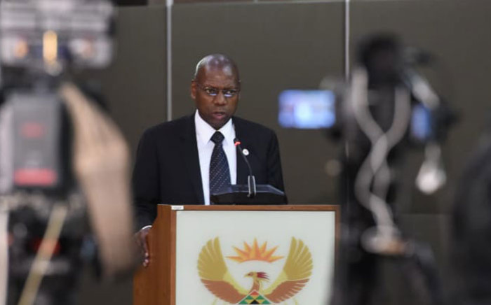 Health Minister Dr Zweli Mkhize at a media briefing in Pretoria on 16 March 2020 on the latest developments of the coronavirus in South Africa. Picture: @NationalNhi/Twitter