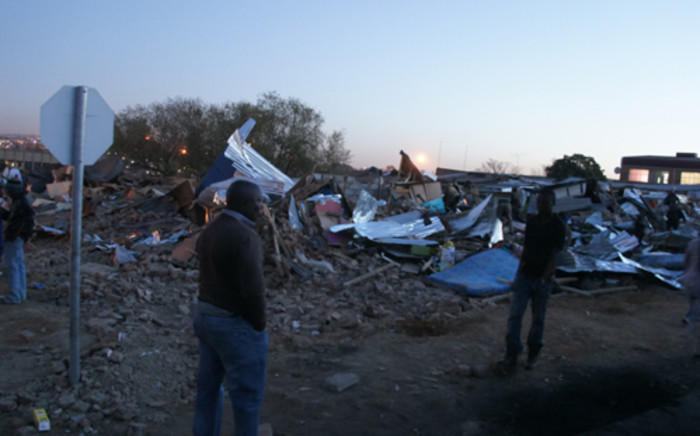 Around 100 shacks were destroyed during an eviction in Marlboro, north of Johannesburg on 2 August 2012. The Johannesburg Metro Police say the residents were occupying the land illegally. Picture: Christa van der Walt/Eyewitness News