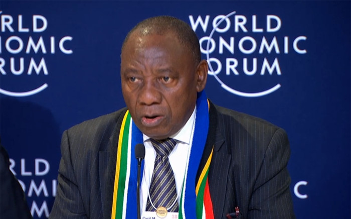 Deputy President Cyril Ramaphosa at a briefing at the World Economic Forum in Davos on 25 January 2018. Picture: Supplied.