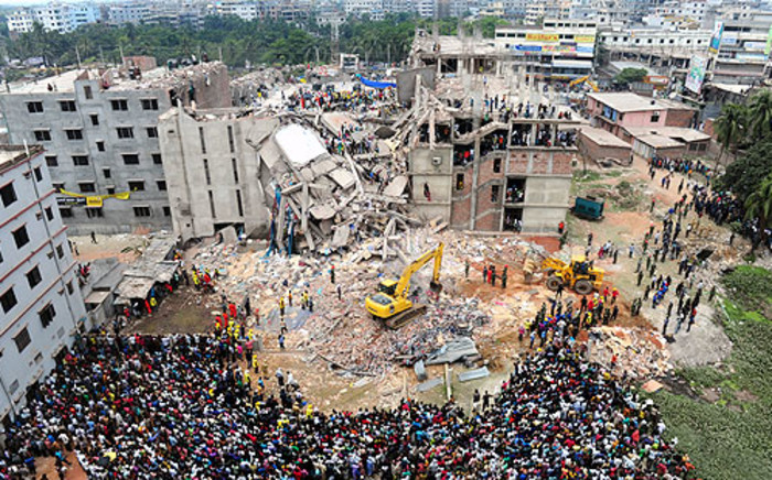 The 8-storey Rana Plaza building collapsed on 24 April 2013 in Bangladesh with around 3,000 workers in it. Picture: AFP