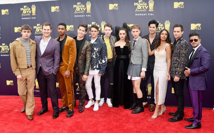 Cast of '13 Reasons Why' attends the 2018 MTV Movie And TV Awards at Barker Hangar on June 16, 2018 in Santa Monica, California. Frazer Harrison/Getty Images/AFP