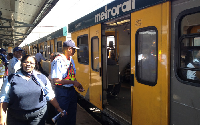 A train pulls into a Cape Town station. Picture: Aletta Gardner
