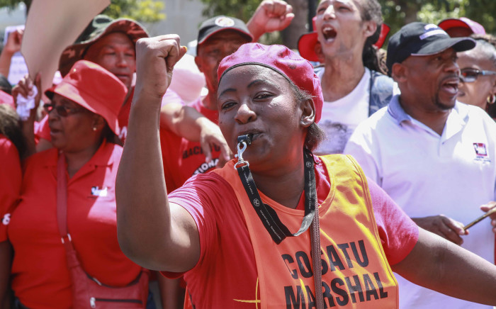 FILE: Cosatu's members marched on Parliament on 19 February 2019 amid concerns over potential job cuts at state entities, like Eskom. Picture: EWN.