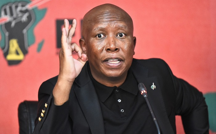 EFF leader Julius Malema at a press briefing on 25 August 2021. Picture: @EFFSouthAfrica/Twitter.