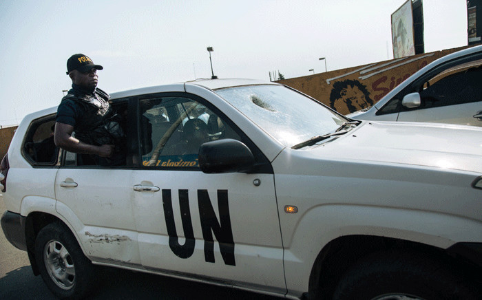 FILE: A vehicle of the United Nations Peacekeeping Mission in DRC, MONUSCO, passes in front of Goma airport after receiving stones in the windshield on June 10, 2019. Picture: Alexis Huguet / AFP.