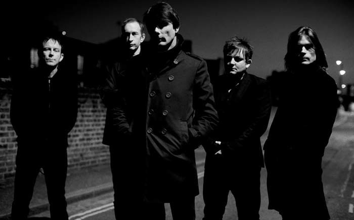 Brett Anderson (front) seen with his Suede bandmembers. Picture: @ suede/Facebook.com.