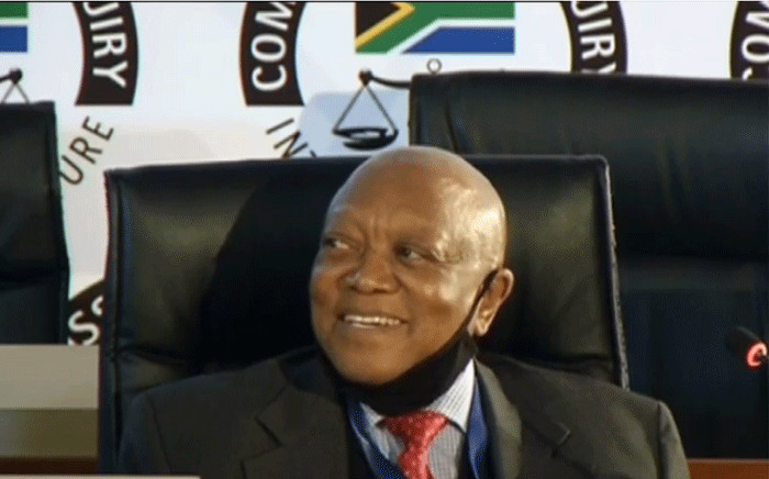 Former Prasa chairperson Popo Molefe at the state capture commission on 29 June 2020. Picture: YouTube screengrab.