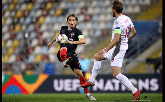 England's Harry Kane in action with Croatia's Luka Modric on October 12, 2018. Picture: @UEFAEURO/Twitter.