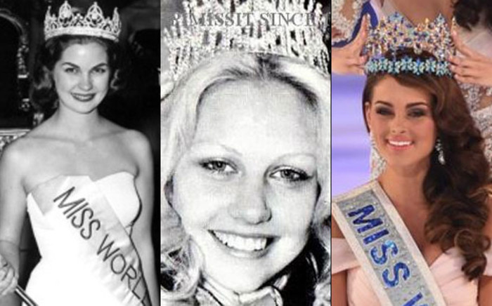 Pictured is South African Miss World winners Penelope Anne Coelen, Anneline Kriel and Rolene Strauss. Picture: AFP