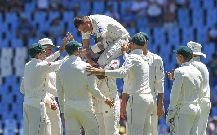 South Africa's Dale Steyn celebrates after getting Pakistan's Fakhar Zaman wicket during day one of the first Test match between South Africa and Pakistan at SuperSport Park on 26 December 2018 in Pretoria. Picture: AFP