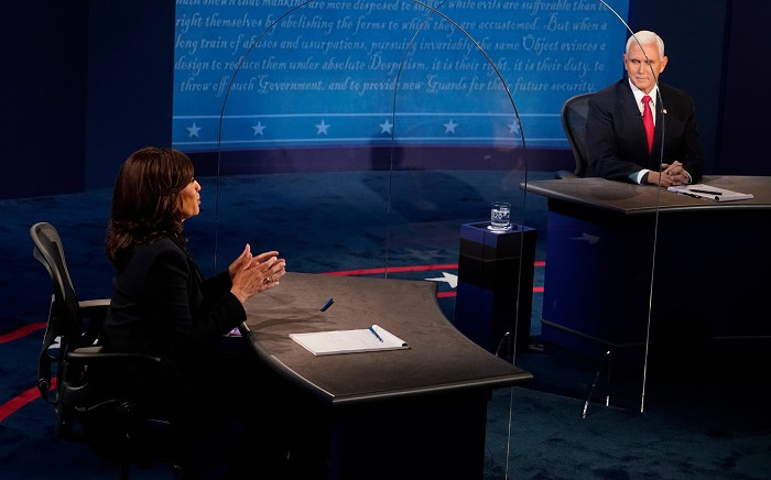 Vice President Mike Pence and Democratic vice presidential nominee Kamala Harris speak during the vice presidential debate on 7 October 2020, at Kingsbury Hall on the campus of the University of Utah in Salt Lake City. Picture: AFP.