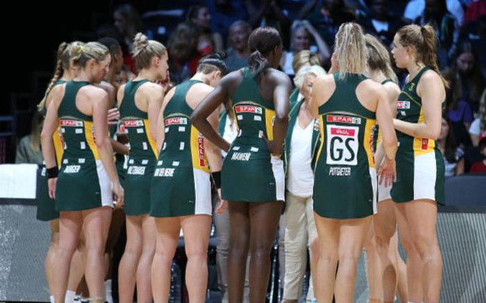 FILE: The Proteas netball side during their World Cup match against England on 18 July 2019. Picture: @Netball_SA/Twitter
