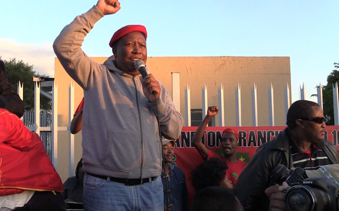 EFF leader Julius Malema addressing Alexandra residents at the anti-xenophobia march on 20 April 2015. Picture: Kgothatso Mogale/EWN.