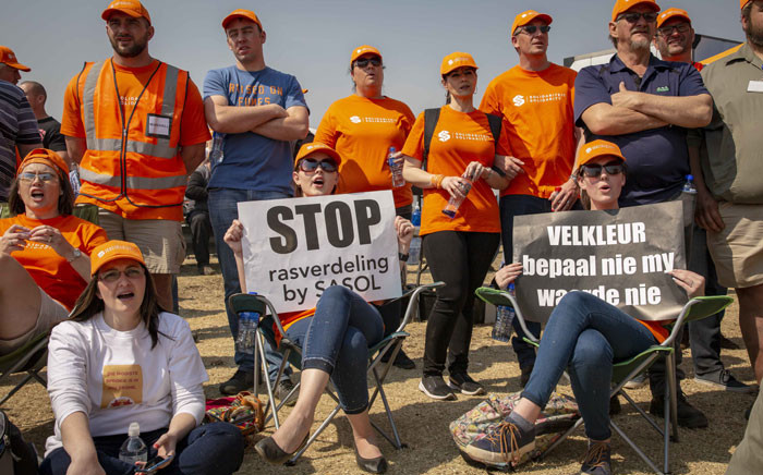 Roughly 2,500 Solidarity protesters marched on Sasol in Secunda demanding equal treatment with regards to the new Kanyisa staff scheme which favours black employees over white. Picture: Thomas Holder/EWN