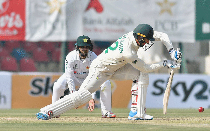 Pakistan vs South Africa on the opening day of their first Test in Karachi. Picture: @ICC/Twitter.