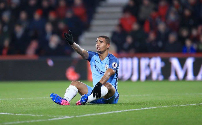 Manchester City forward Gabriel Jesus complains after being fouled. Picture: Manchester City/Facebook