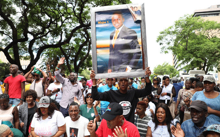 Supporters of Prophet Shepherd Bushiri protest outside the Specialised Commercial Crimes Court in Pretoria. Bushiri and his wife Mary appeared in court on 4 February 2019 for charges of fraud, money laundering and contravening the Prevention of Organised Crimes Act. Picture: Abigail Javier/EWN.