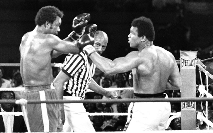 This file photo taken on October 30, 1974 shows the fight opposing former world heavyweight boxing champion the American Muhammad Ali (R) and his compatriot and titleholder George Foreman (L) in Kinshasa. Picture: AFP.