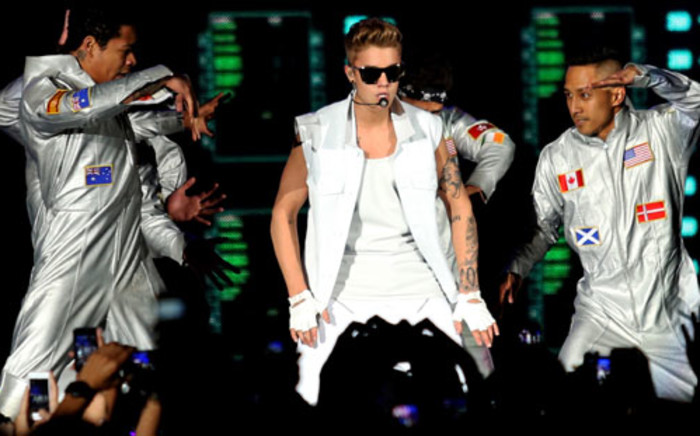 Canadian pop singer Justin Bieber performs at the Cape Town Stadium on 8 May 2013. Picture: Sapa