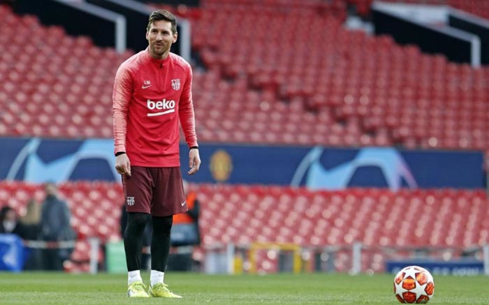 Barcelona's Lionel Messi reacts during his team's training session ahead of their Champions League clash against Manchester United. Picture: @FCBarcelona/Twitter.