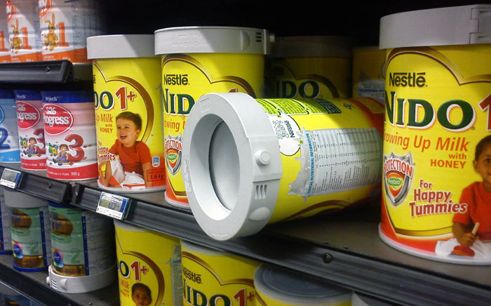 An example of how supermarkets try and reduce shoplifting of baby formula. This image was taken at a Game outlet in 2013. Picture: Bruce Hong/ Cape Talk.