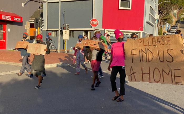 The Muizenberg homeless community held a protest on Saturday calling on the City of Cape Town to assist in providing shelter during the lockdown. Picture: Supplied.