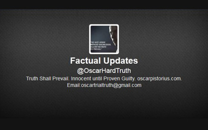 The new Twitter account set up by Oscar Pistorius's public relations team for his murder trial. Picture: Twitter