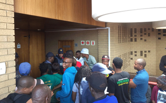 TUT students outside the Soshanguve Magistrates Court where two police officers arrested in connection with Katlego Monareng's death are appearing on 23 October 2018. Picture: Kayleen Morgan/EWN
