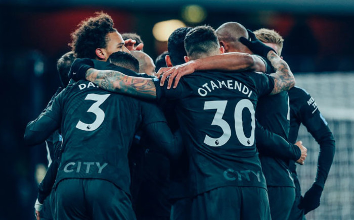 Manchester City players celebrate a win. Picture: @ManCity/Twitter