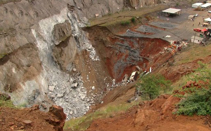 Sink hole at the Lily Mine in Barberton. Picture: Vantage Goldfield.