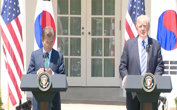 A screengrab of South Korea President Moon Jae-in with US President Donald Trump. Picture: CNN