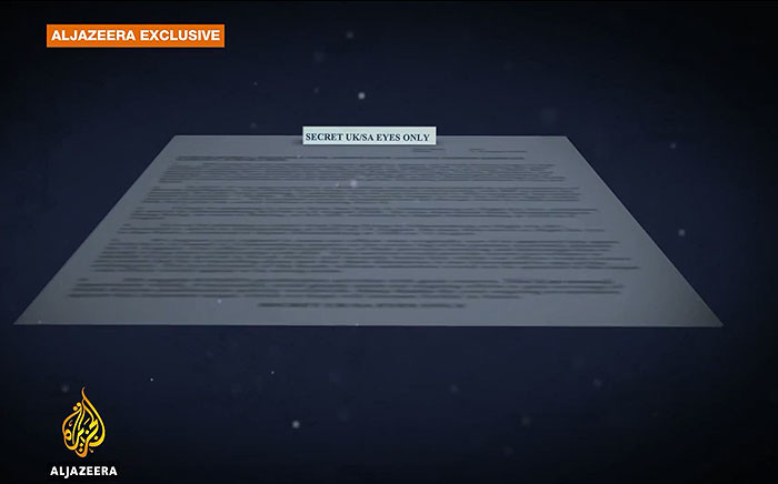 A Screengrab from Al Jazeera's Spy Cables video shows a South African State Security leaked document.