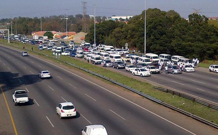 Taxis blocking the M1 Crown Interchange near Xavier Street in Johannesburg during a taxi strike. Picture: M Ismail