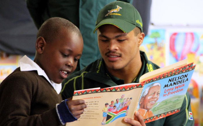 Juan de Jongh was part of Springbok rugby players who gave 67 minutes of their time in Langa and Eldorado Park on Thursday. Picture: SARU