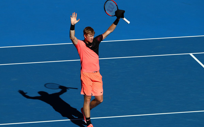 Briton Kyle Edmund celebrates booking a place in the Australian Open semi-finals after beating Grigor Dimitrov. Picture: @AustralianOpen/Twitter.
