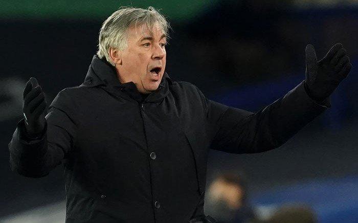 Everton manager Carlo Ancelotti reacts during the English Premier League football match between Everton and Arsenal at Goodison Park in Liverpool, north west England on 19 December 2020. Picture: AFP