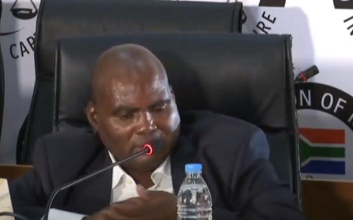 A screenshot of former Transnet treasurer Phetolo Ramosebudi at the state capture commission on Thursday, 26 November 2020. Picture: SABC Digital News/Youtube