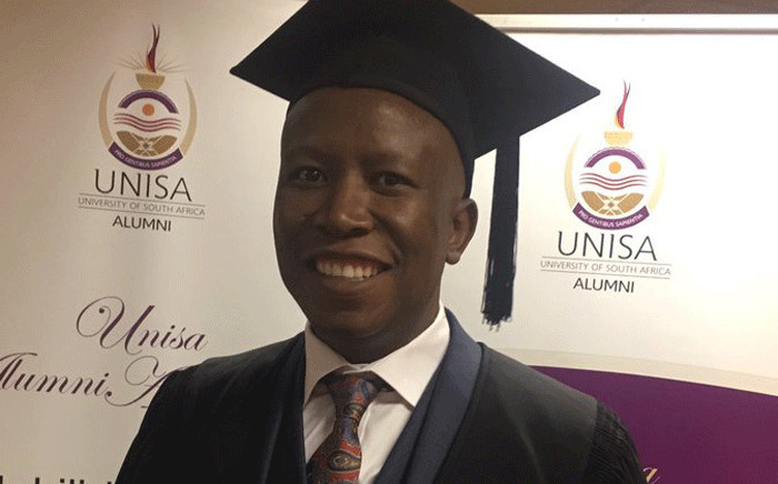 Economic Freedom Fighters leader Julius Malema pictured on 6 September 2017 after graduating from Unisa. Picture: @Julius_S_Malema/Twitter
