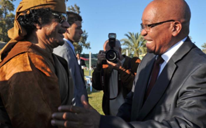 Libyan leader Muammar Gaddafi and President Jacob Zuma. Picture: Ntswe Mokoena/GCIS