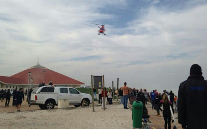 The victim of a shark attack at Muizenberg beach on Friday afternoon has been airlifted to hospital and is in a stable condition. Picture: Zain Johnson