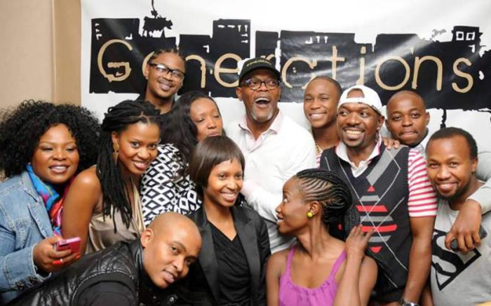 FILE: Generations cast members pose with US actor Samuel L Jackson. Picture: Facebook.