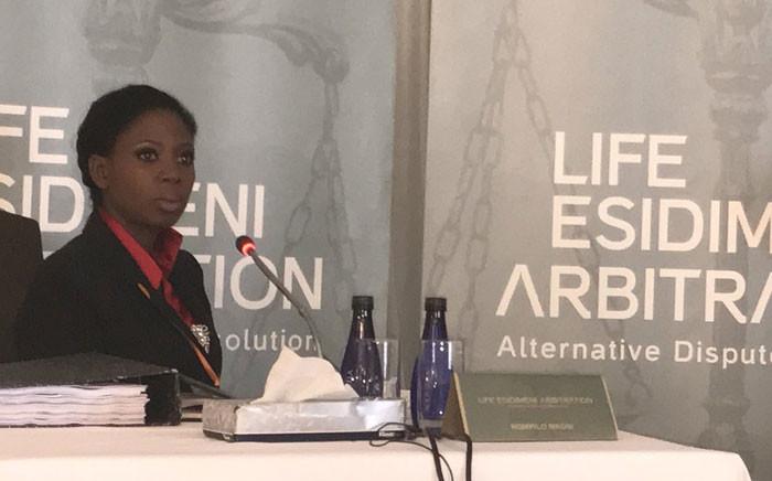 Nompilo Nkosi whose brother survived the deadly Esidimeni project testifying at the Esidimeni arbitration hearing on 1 December 2017. Picture: Masego Rahlaga/EWN.