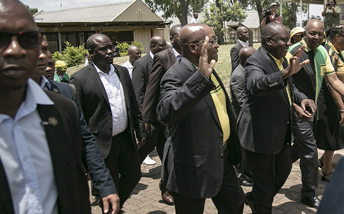 FILE: President Cyril Ramaphosa and former President Jacob Zuma arrive at the Ohlange Institute Rally in Inanda during the January 8th celebrations on 8 January 2018. Picture: Sethembiso Zulu/EWN.