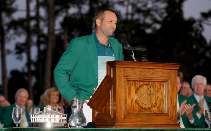 Sergio Garcia of Spain speaks after being presented with the Green Jacket after he won in a playoff during the final round of the 2017 Masters Tournament at Augusta National Golf Club on 9 April, 2017 in Augusta, Georgia. Picture: AFP.
