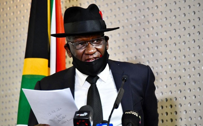 Police Minister Bheki Cele during a media briefing on crime statistics in Pretoria on 31 July 2020. Picture: GCIS