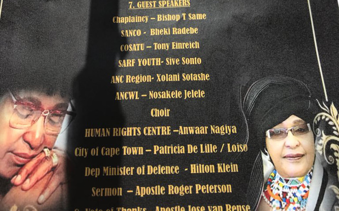 The programme for the Winnie Madikizela-Mandela memorial service at the Cape of Good Hope in Cape Town on 12 April 2018. Picture: Monique Mortlock/EWN